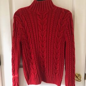 Beautiful Red Cable Knit Cotton Sweater